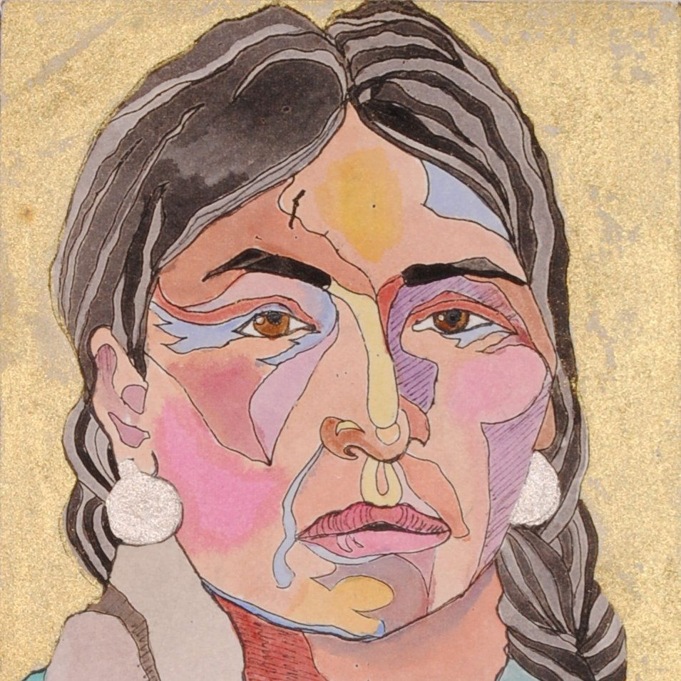 Native American Portrait Watercolor Original by Linda Lucy Lunde