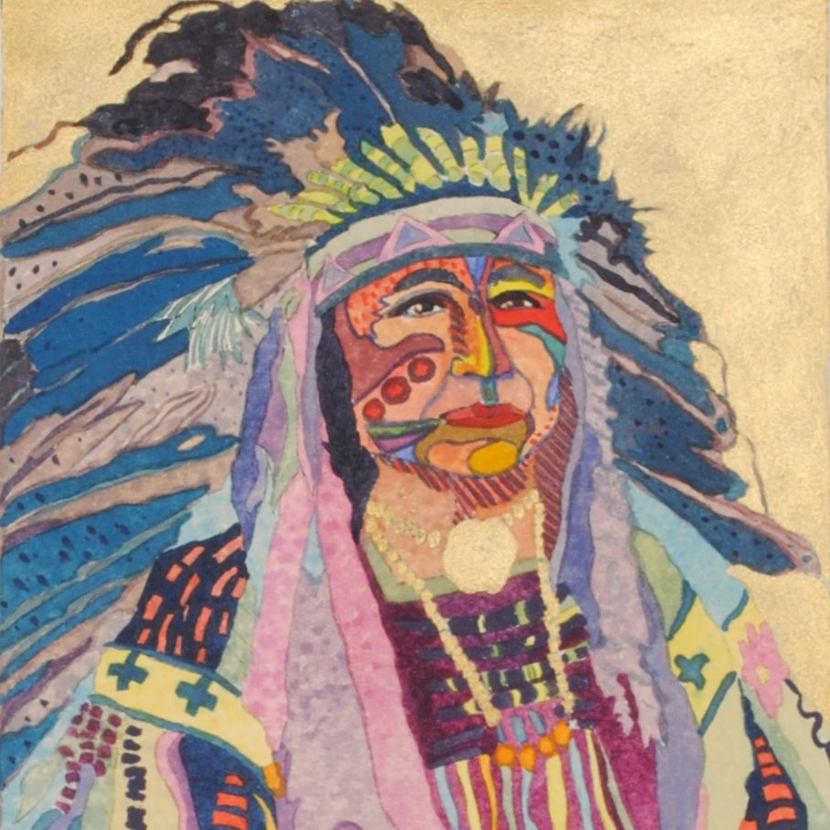 Indian Chief Original Art Painting by Linda Lucy Lunde