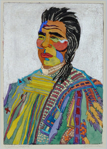 Native American Original Portrait Watercolor by Linda Lucy Lunde