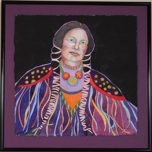 Native American Watercolor Portrait by Linda Lucy Lunde