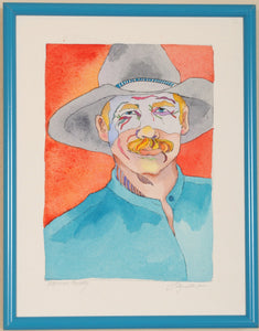 Cowboy Watercolor Original Painting by Linda Lucy Lunde