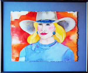 Original Blonde Cowgirl Watercolor by Linda Lucy Lunde