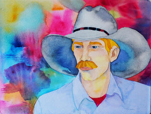 Cowboy Art Original Watercolor by Linda Lucy Lunde