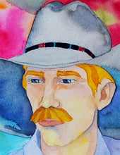 Load image into Gallery viewer, Cowboy Art Original Watercolor by Linda Lucy Lunde