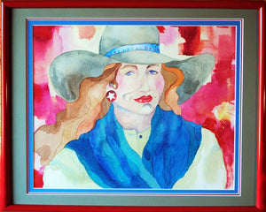 Cowgirl Watercolor Original by Linda Lucy Lunde