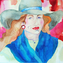 Load image into Gallery viewer, Cowgirl Watercolor Original by Linda Lucy Lunde