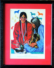 "Load image into Gallery viewer, Winold Reiss Vintage Framed Print ""The Pemmican Makers"""