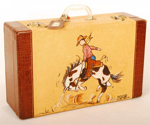 Buckin Bronc Original Painting on Vintage Suitcase