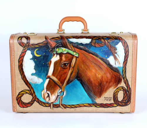 Horse Portrait Painting on Suitcase