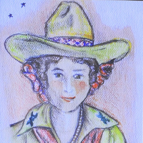 Cowgirl Art Original Watercolor by Shawna June Lee