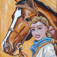 Load image into Gallery viewer, Retro Cowgirl Painting by Cowgirl Artist Shawna June Lee