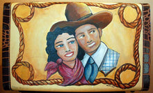 Load image into Gallery viewer, Cowboys Sweetheart Painting on Vintage Suitcase by Shawna June Lee