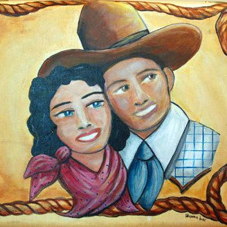 Cowboys Sweetheart Painting on Vintage Suitcase by Shawna June Lee