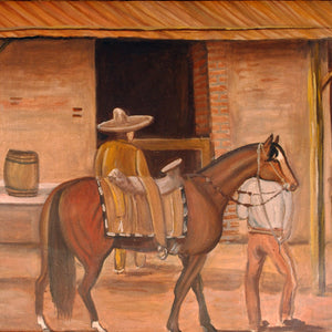 Mexican Folk Art Vintage Painting Horse in Village