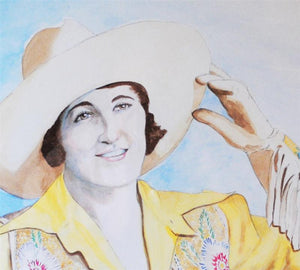 Vintage Cowgirl Portrait in Watercolor