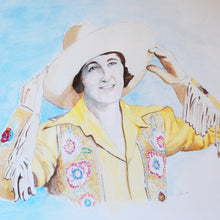 Load image into Gallery viewer, Vintage Cowgirl Portrait in Watercolor