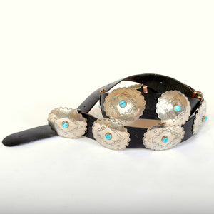 Vintage Concho Belt with Stamped Silver and Turquoise B100