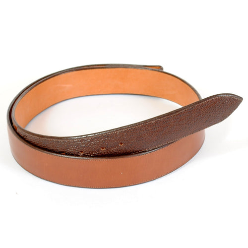 Handmade Western Style Leather Belt in Brown with Shark Ends