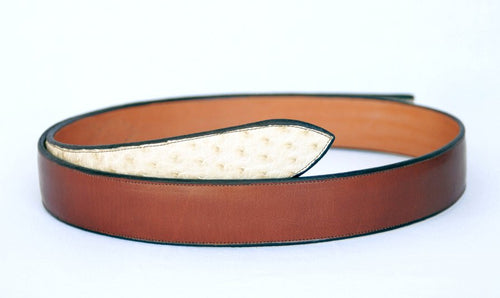 Handmade Western Belt in Brown Leather with Ostrich Ends sz 51