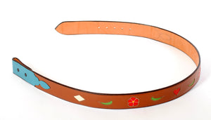 Brown Handmade Belt with Floral & Heart Inlaid Designs sz 41-1/2""