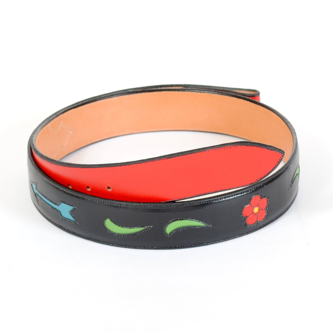 Handmade Belt in Black Leather with Inlay sz 44-1/2