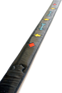 Handmade Black Belt with Colorful Shape Designs