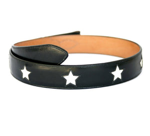 Handmade Black Leather Belt with Stars Inlaid Designs