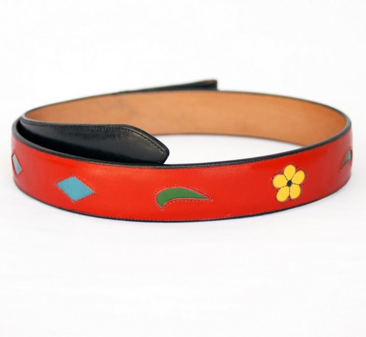 Handmade Red Leather Belt with Floral & Diamond Inlaid Designs sz 42-1/2