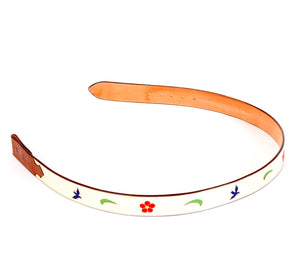 "Handmade Leather Belt Cream with Inlaid Bluebird & Floral Designs sz 38"" BHA115"
