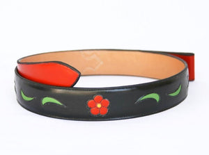Handmade Inlaid Leather Belt Black Floral & Leaves