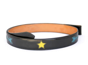 Handmade Black Inlaid Belt with Arrows & Stars