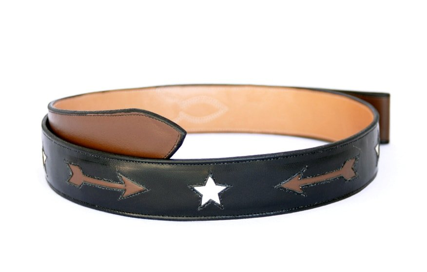 Handmade Inlaid Black Leather Belt with Arrows & Stars sz 40