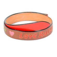 "Load image into Gallery viewer, Handmade Brown Leather Belt with ""Love Rules"" Design sz 39"""