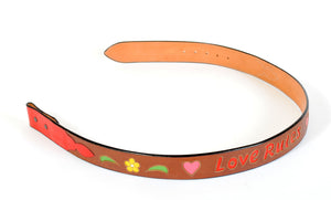 "Handmade Custom Brown Leather Belt with ""Love Rules"" Inlaid Design sz 39"""