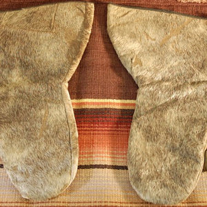 Vintage Leather Mittens with Hair-On Cowhide