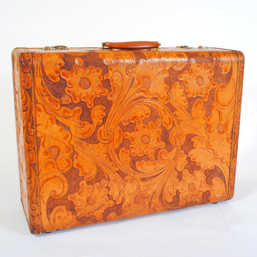 Vintage Suitcase in Tooled Leather