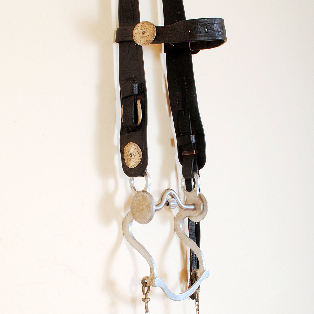 Vintage Headstall with Silver Conchos