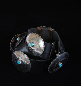 Concho Belt with Stamped Silver and Turquoise