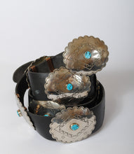 Load image into Gallery viewer, Vintage Concho Belt with Stamped Silver and Turquoise B100