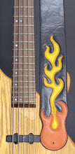 Load image into Gallery viewer, Handmade Black Leather Guitar Strap with Flames GS101