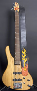 Handmade Black Leather Guitar Strap with Flames GS101