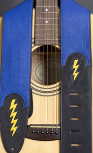 Handmade Blue Leather Guitar Strap with Lightning Bolt GS107