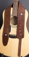 Load image into Gallery viewer, Handmade Embossed Guitar Strap with Sterling Rosettes GS113