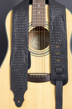 Load image into Gallery viewer, Handmade Black Embossed Leather Guitar Strap GS115