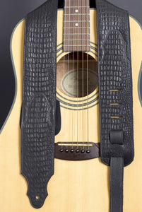 Handmade Black Embossed Leather Guitar Strap GS115