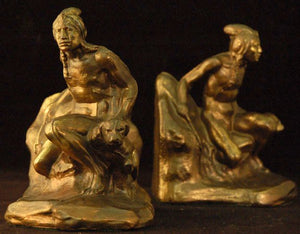 Vintage Indian Bookends in Cast Bronze