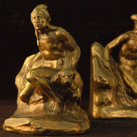 Vintage Bookends Indians and Dog in Cast Bronze