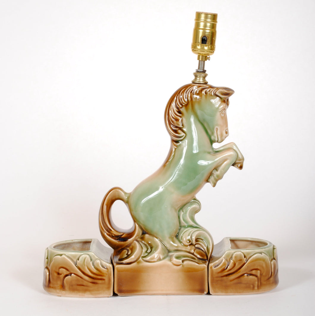Ceramic Rearing Horse Vintage Lamp with Planters HD129