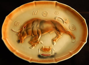 Vintage Western Platter of Longhorn by Marcia of California