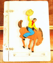 Load image into Gallery viewer, Vintage Wooden Scrapbook with Horse and Rider